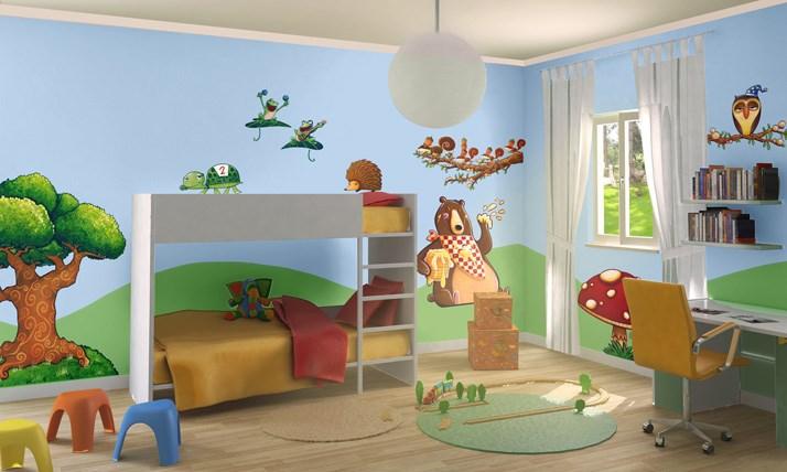 Stickers murali bambini cameretta nel bosco leostickers - Decorazioni murali per camerette bambini ...